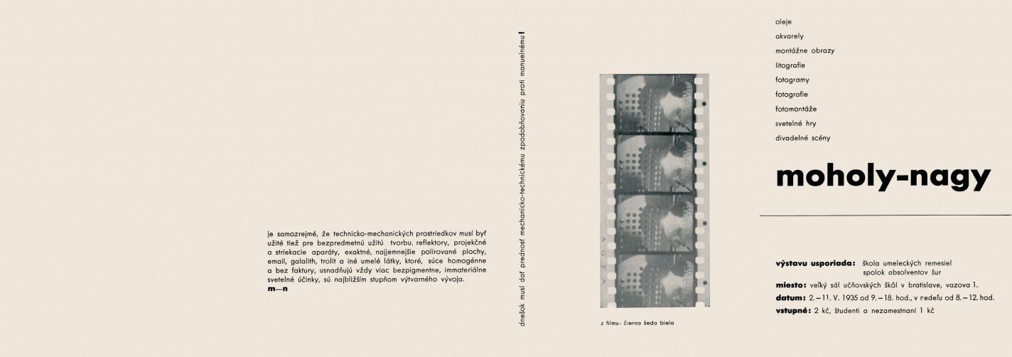Moholy-Nagy. Folding leaflet to the exhibition at the School in Bratislava (cover and back page)